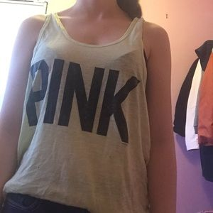 A lime green tank top from the brand pink
